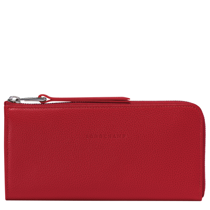 Long zip around wallet, Red, hi-res - View 1 of 4