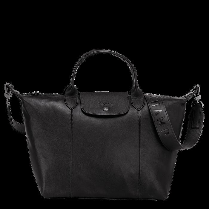 Le Pliage Cuir Top handle bag M, Black