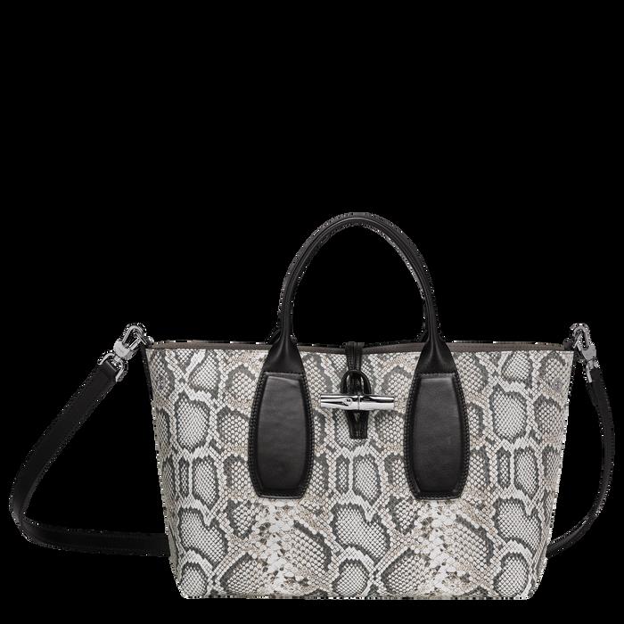 Top handle bag M, Black/White, hi-res - View 1 of 3
