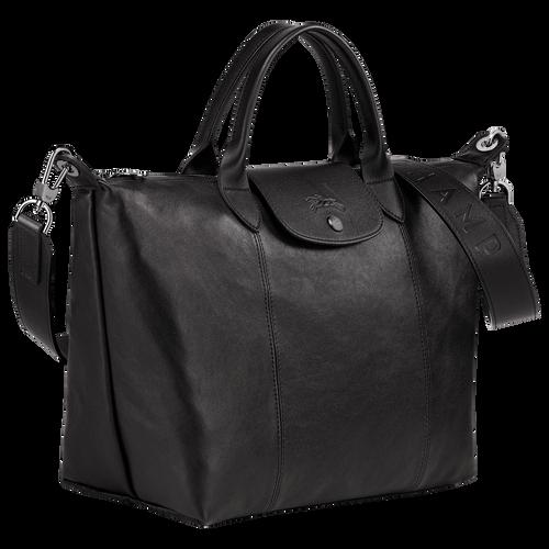 Le Pliage Cuir Handtasche M, Schwarz