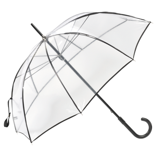 Transparent Walking stick umbrella, Black