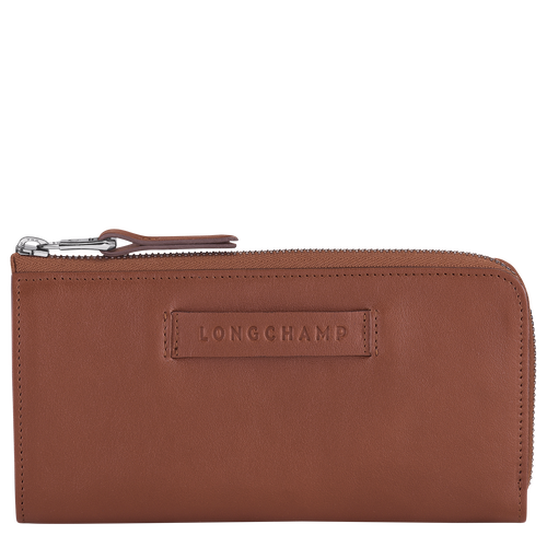 Longchamp 3D Lange portefeuille met rits rondom, Cognac