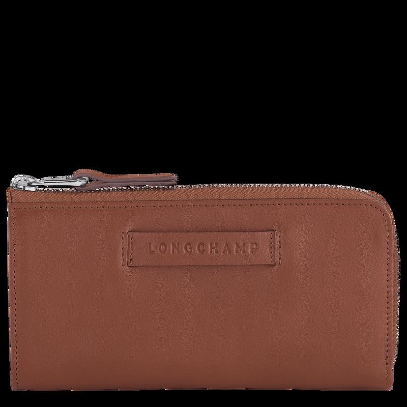 Longchamp 3D Long wallet with zip around, Cognac
