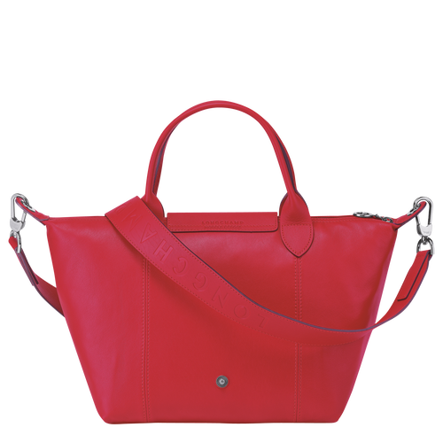 Le Pliage Cuir Top handle bag S, Red Kiss