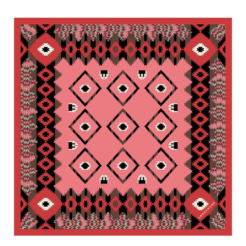 View 1 of Silk scarf, 589 Coral, hi-res