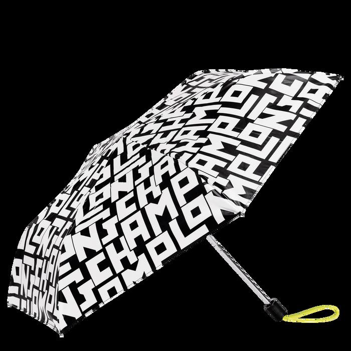 Retractable umbrella, Black/White, hi-res - View 1 of 1