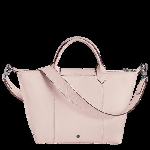 Le Pliage Cuir Top handle bag M, Pale pink