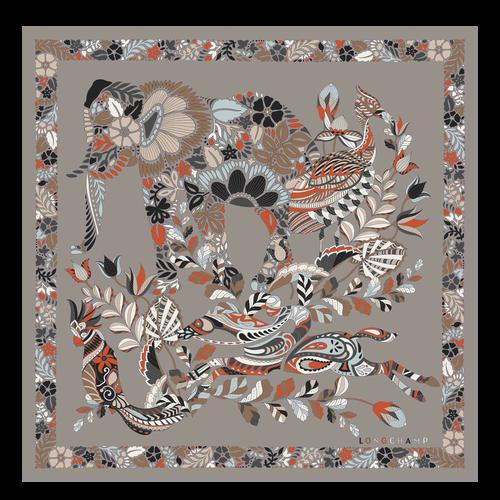 Fall-Winter 2021 Collection Silk scarf, Turtledove