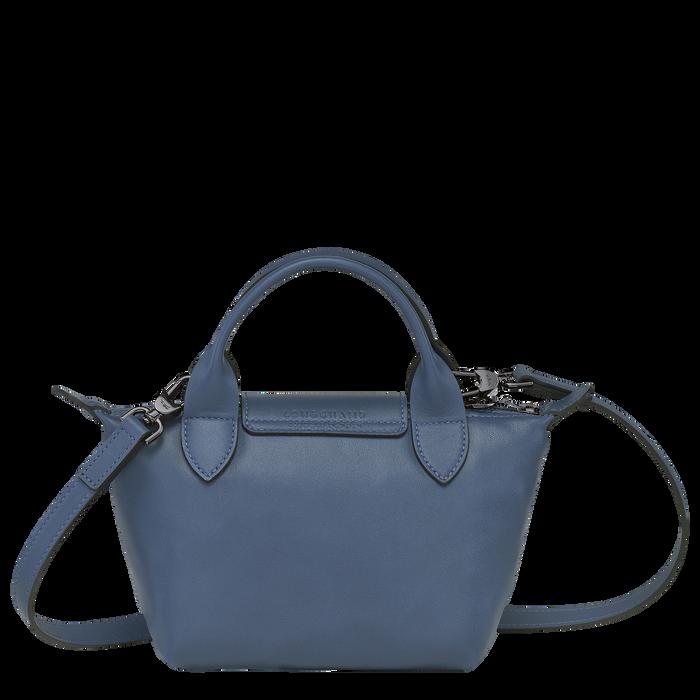 Le Pliage Cuir Top handle bag XS, Pilot blue