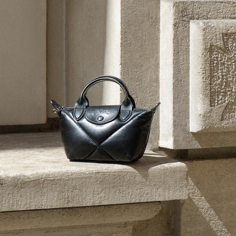 Le Pliage Cuir Top handle bag XS, Black
